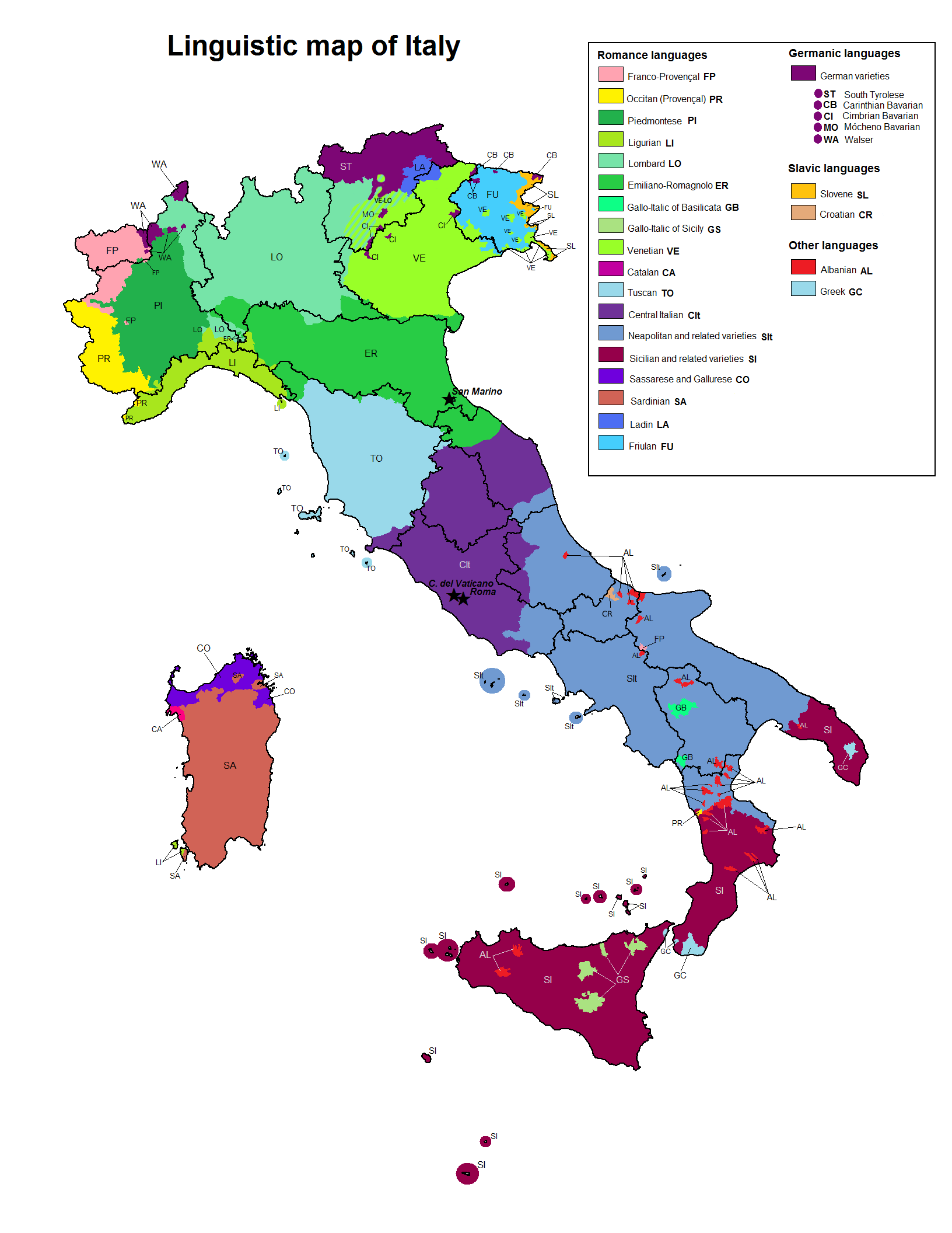 Dialect Map Of The United States.Understanding Italian Dialects And The Standard Language